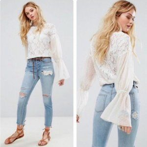 Free People Something Like Love Lace Top - Ivory